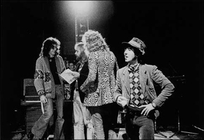 Jimmy Page, Roy Harper, Robert Plant, Ronnie Lane. Roy Harper photo © Collin Curwood.